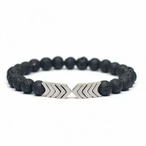 Lava Rock Beaded Arrow Essential Oil Bracelet