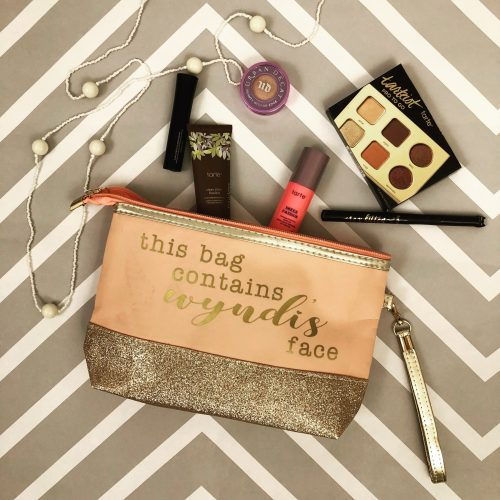 Blush glitter makeup bag