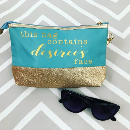 Teal glitter makeup bag