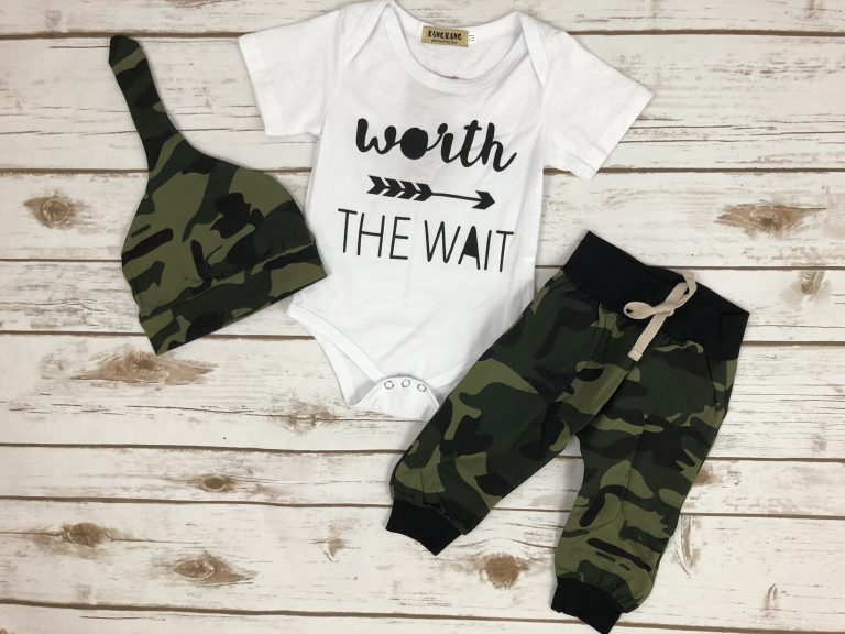 Worth The Wait Camo Onesie Outfit
